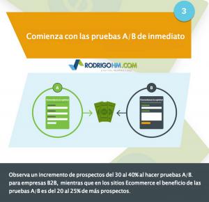 Haz pruebas en tu sitio y compara resultados. Esto es hacer pruebas A/B. Te ayuda a optimizar tu página web.